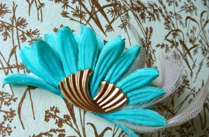 Something Blue for Vintage Brides Art Deco Hair Clip