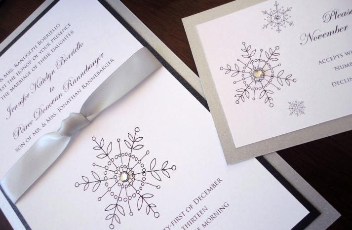 Winter Wedding Ideas Elegant Snowflake Stationery
