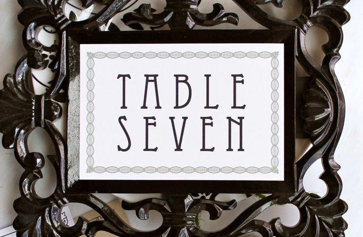 MOdern Vintage Wedding Reception Table Numbers