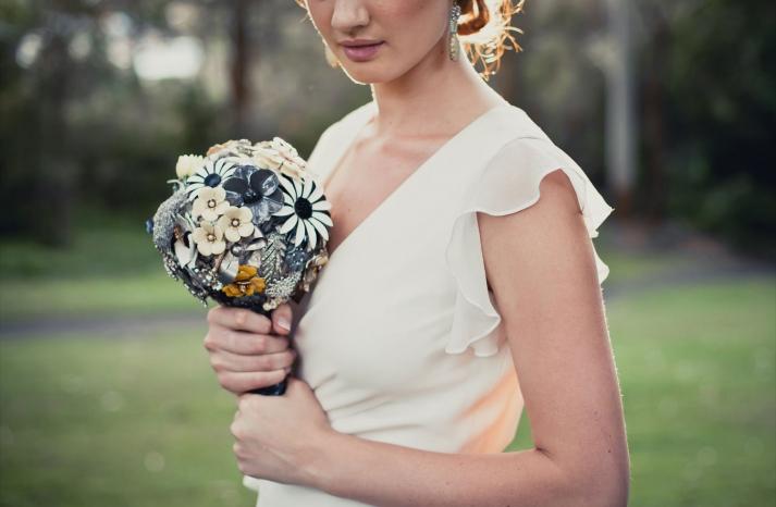 Brooch Bridal Bouquets Modern Vintage Theme