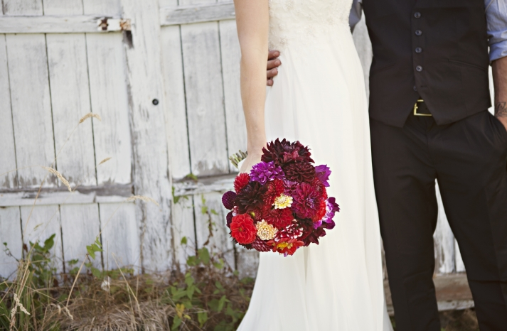 Rustic Outdoor Wedding Deep Red Bridal Bouquet