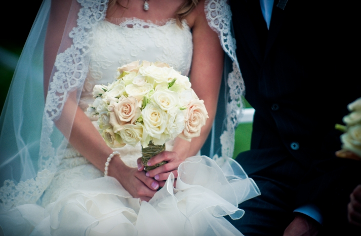Classic bridal bouquet of ivory light pink roses