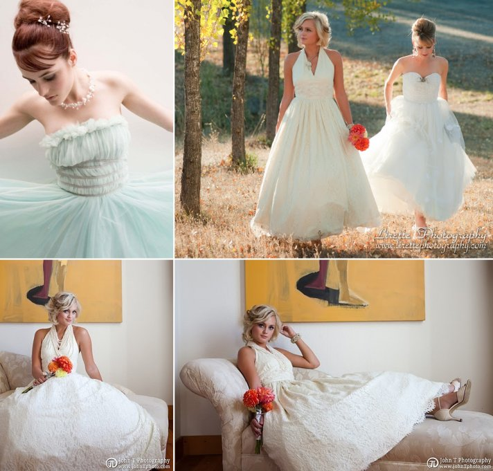 1950s inspired bridal wear halter wedding dress