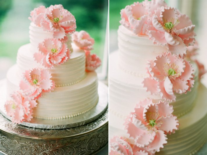 3 tier classic wedding cake with light pink sugar flowers