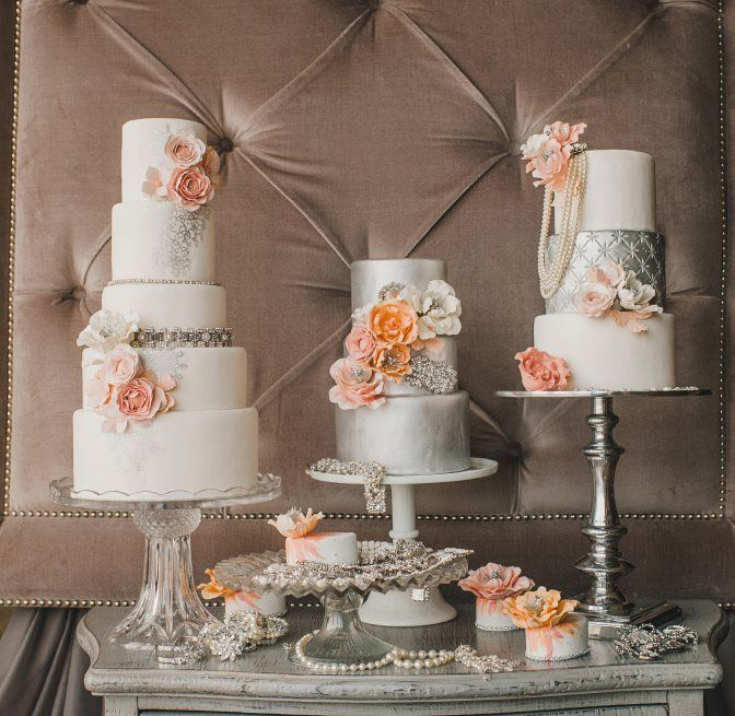 Silver Ivory Wedding Cakes with Pastel Blooms