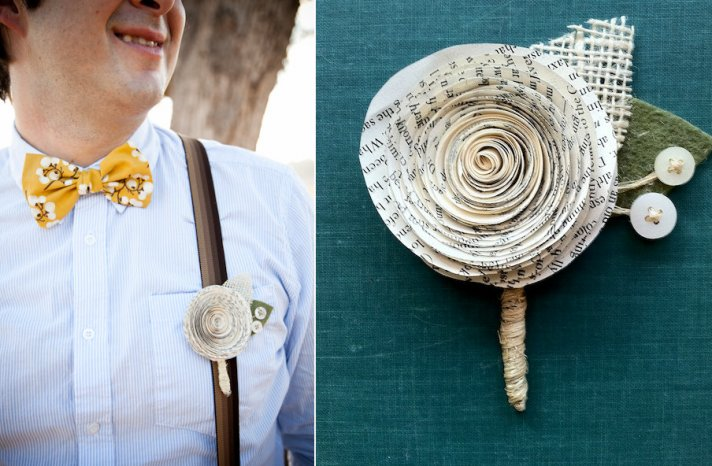 eco boutonnieres for groom and groomsmen