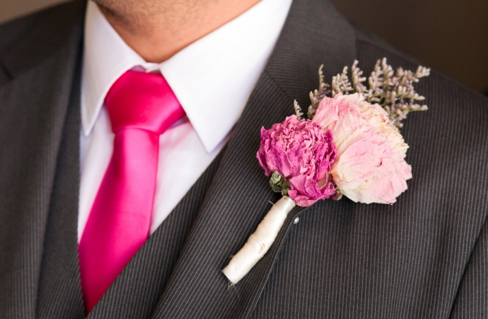 Pink Wedding Boutonniere Dried Flowers