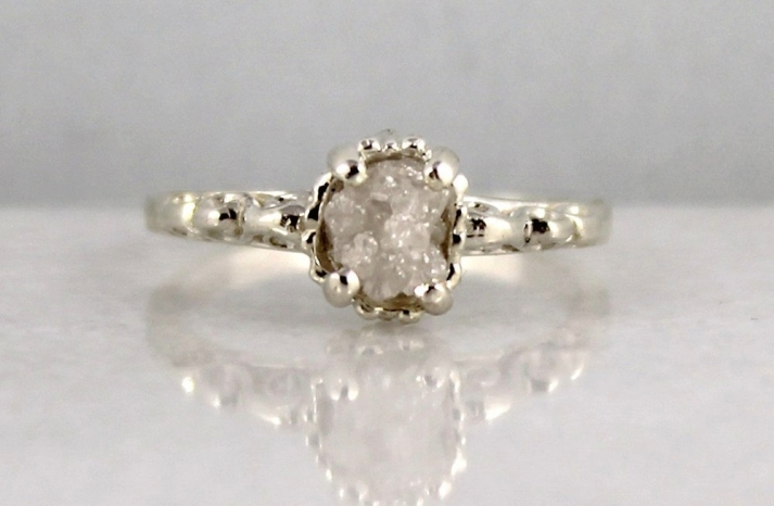 Rough Diamond Engagement Rings Sterling Silver Setting