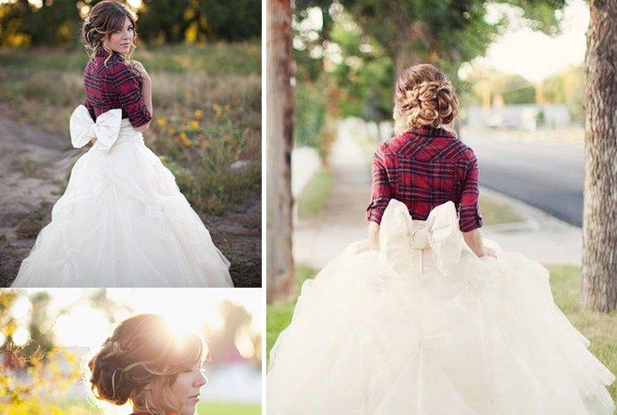 Winter Wedding Ideas Plaid Bridal Shrug