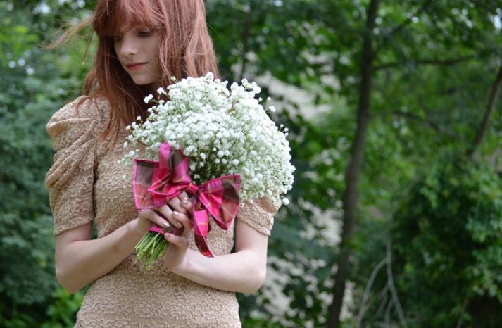 Babys Breath Wedding Bouquet with Plaid Wrap