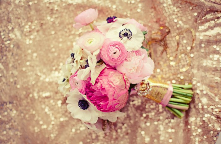 Stunning Bridal Bouquet Light Pink Ivory Black and Glittery Gold