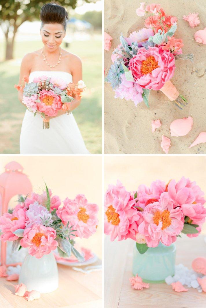 Beach Romance Wedding Flowers Pink Peonies