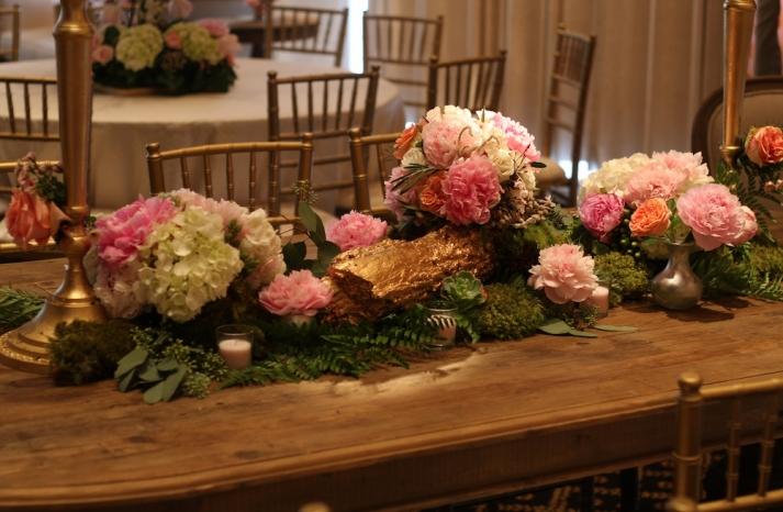Wedding Reception Florals for Long Banquet Tables