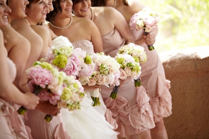 Bride with Bridesmaids Hold Light Pink Green Ivory Bouquets