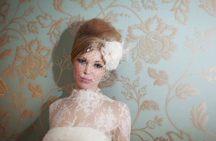 Classic Birdcage Bridal Veil with silk flower