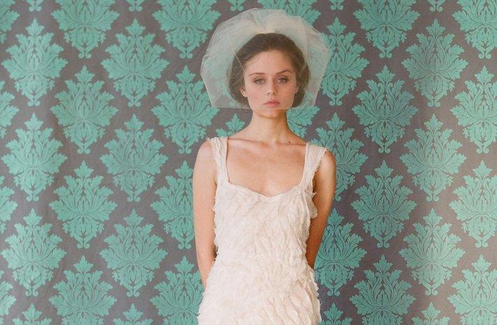Classic Bridal Veil Birdcage Hair Accessory Pastel Peach Tulle