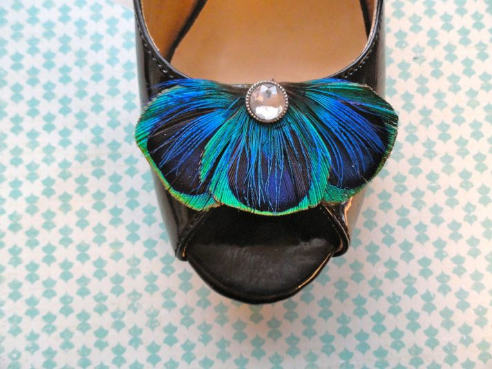 Peacock Feather Shoe Clips for Brides Something Blue