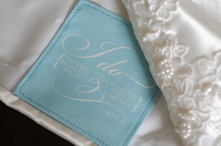 something blue wedding dress label