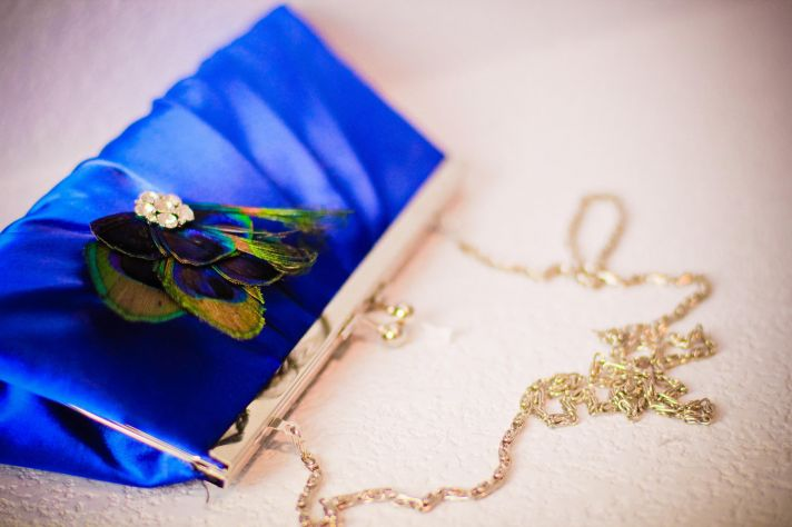 Royal Blue Peacock Bridal Clutch