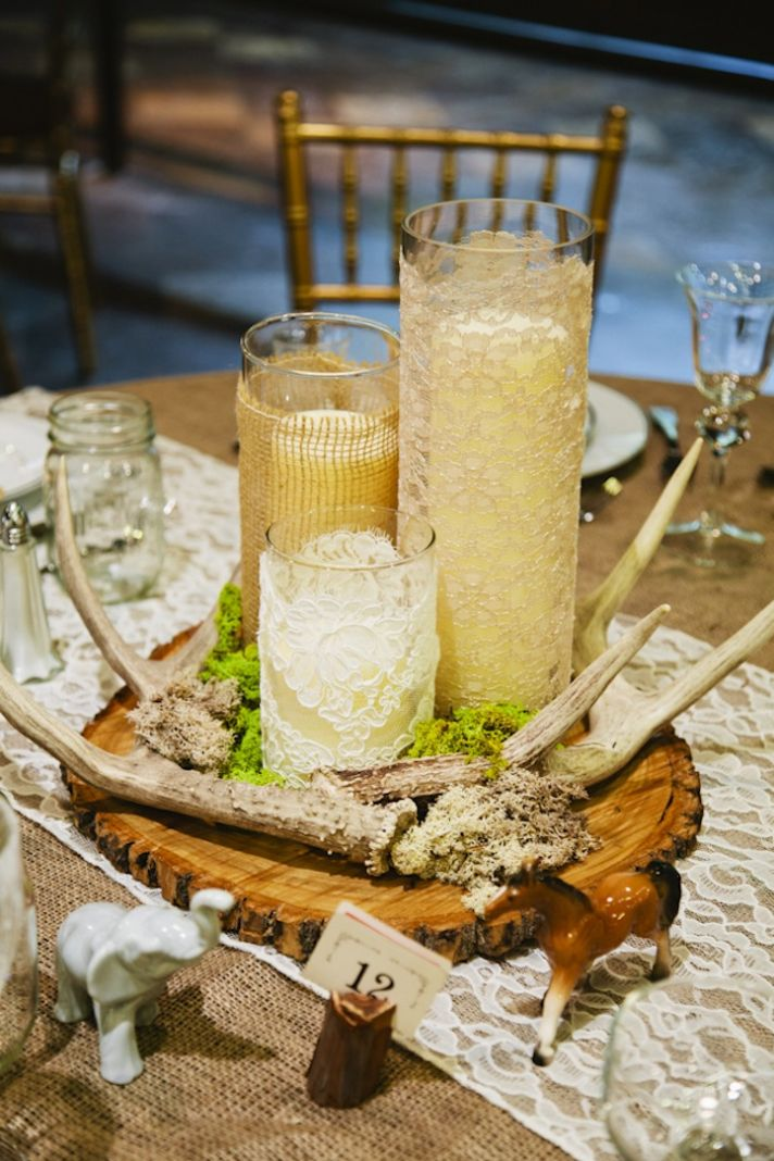 Lace and Burlap Wedding Reception Table Accents