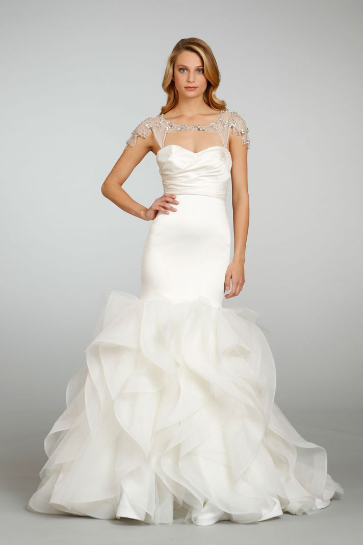 Eye on 2013 bridal fashion two is better than one onewed for Wedding dress with shrug