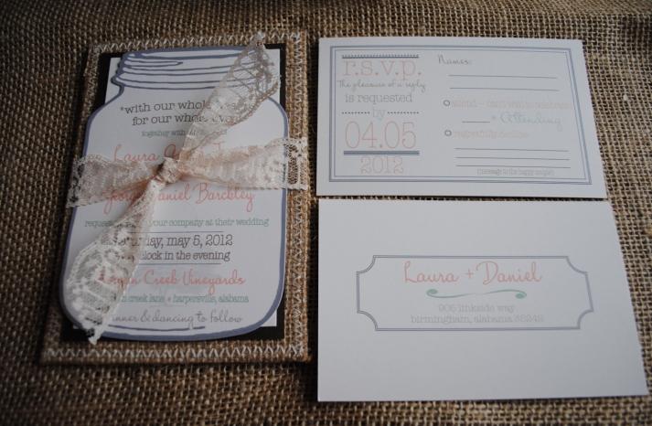 Lace Tied Mason Jar Wedding invitation