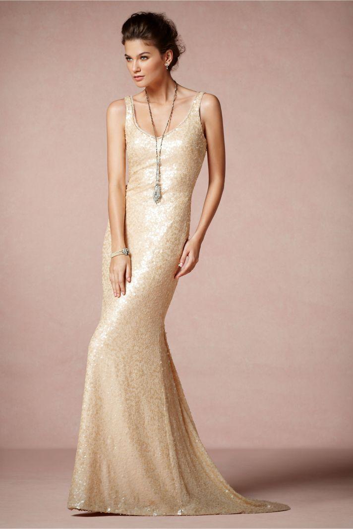 Champagne Scoop Neck Wedding Dress