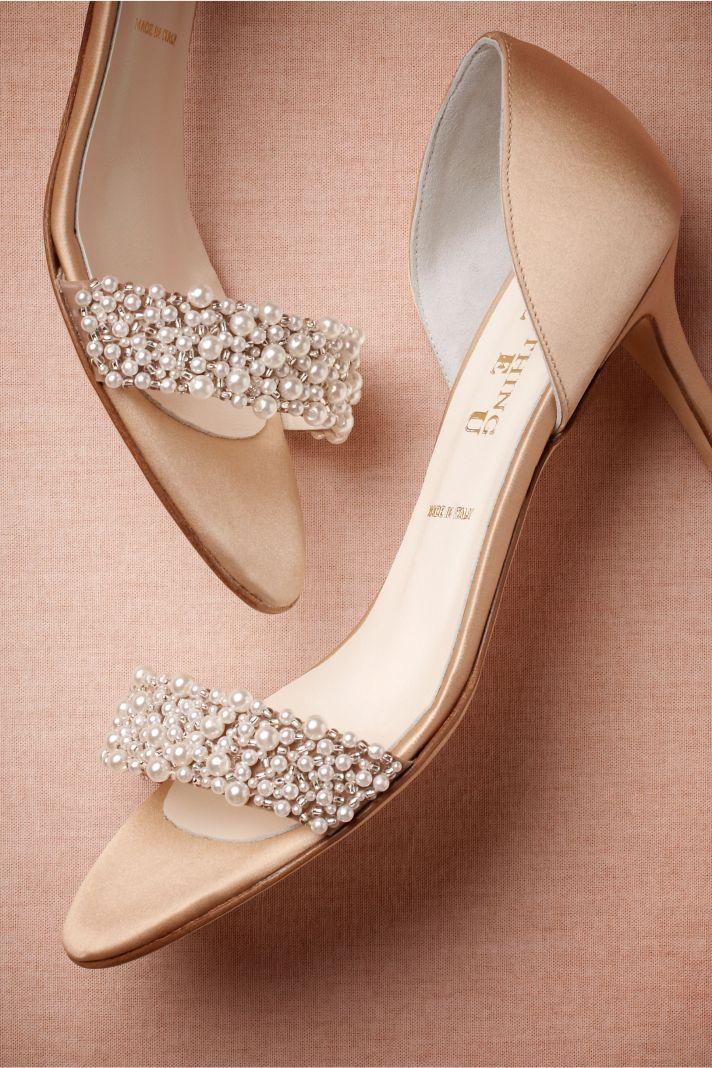 Pearl and Peach Wedding Heels