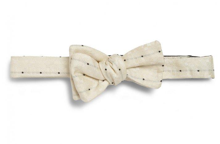 cream polka dot bow tie