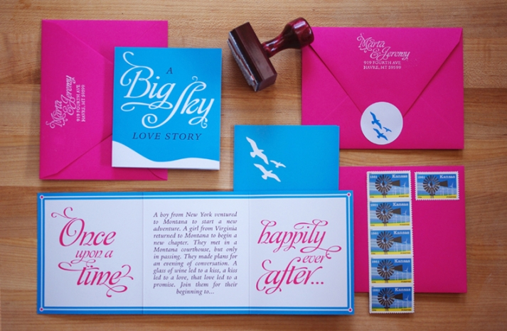 Bright Pink and Blue Wedding Invites