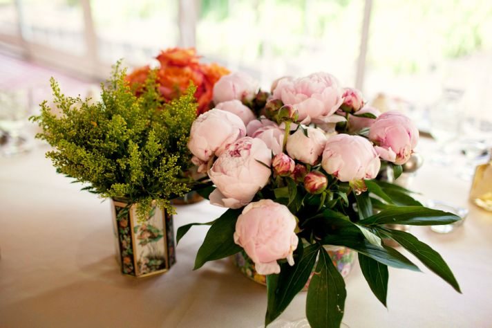 Wedding Centerpieces Light Pink Peonies Orange Roses in Vintage Vases
