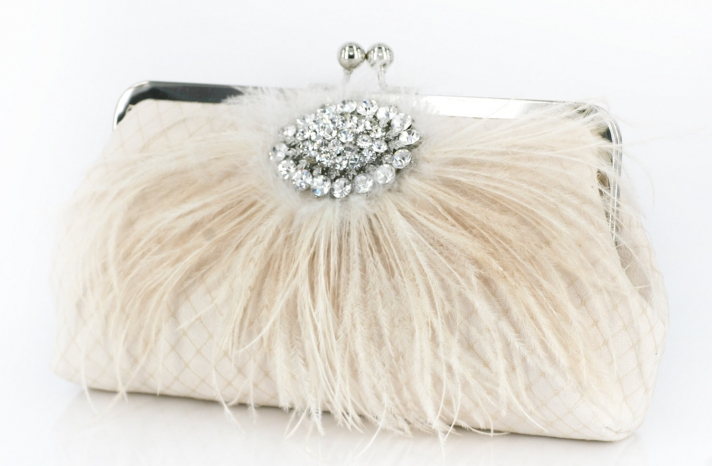 Feather Embellished Bridal Clutch