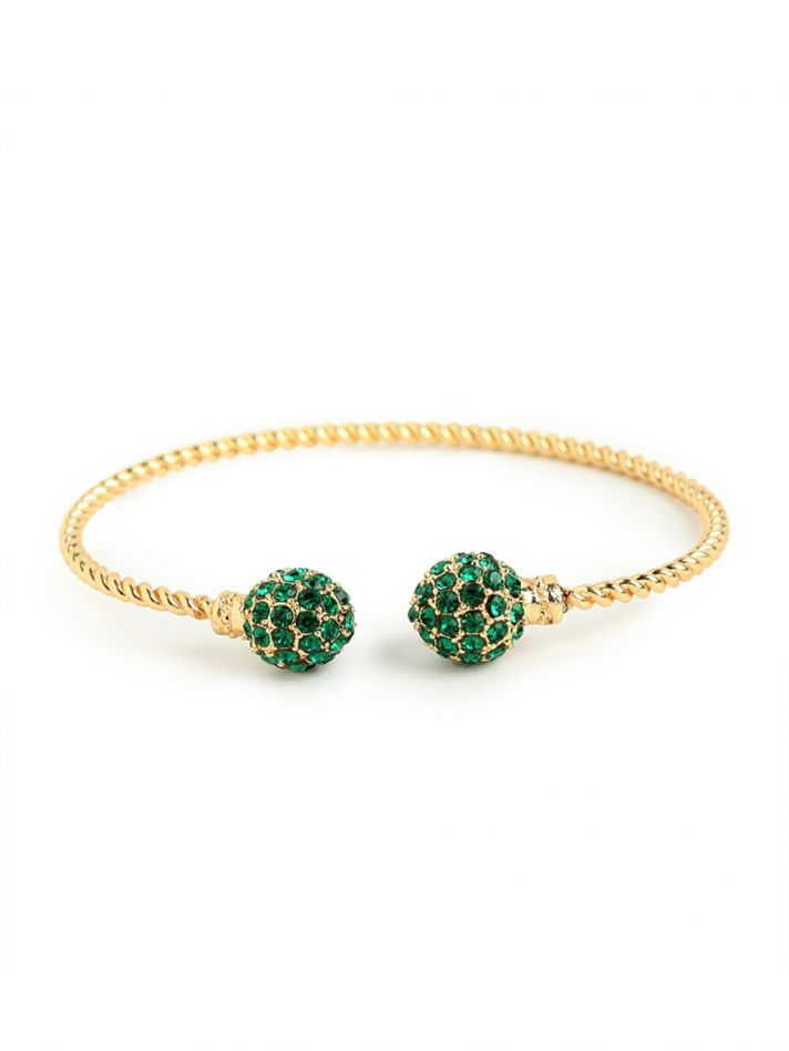 Emerald Green Gold Statement Bridal Earrings