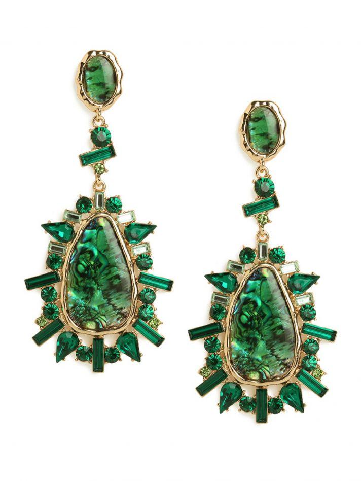 Emerald Green Gold Statement Bridal Earrings