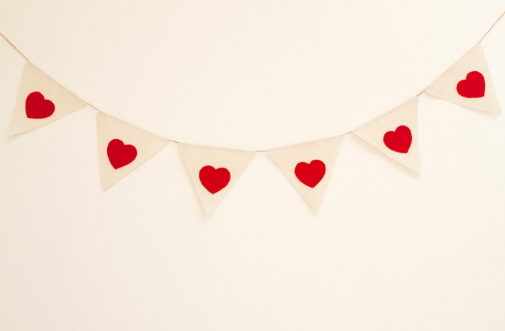 Fabric Bunting with Red Hearts for Wedding Reception Decor