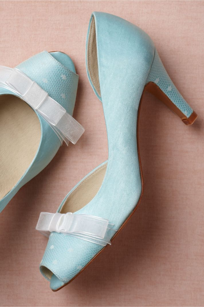 Retro Wedding Shoes from BHLDN floral, sparkle, something blue