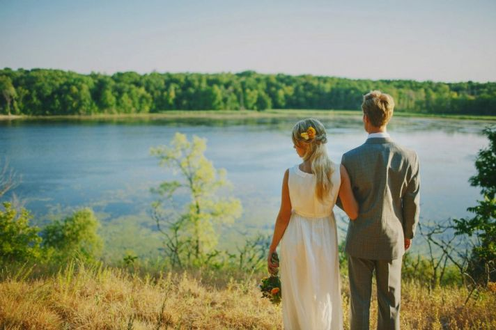 Outdoor Lakeside Wedding Bride and Groom Portrait