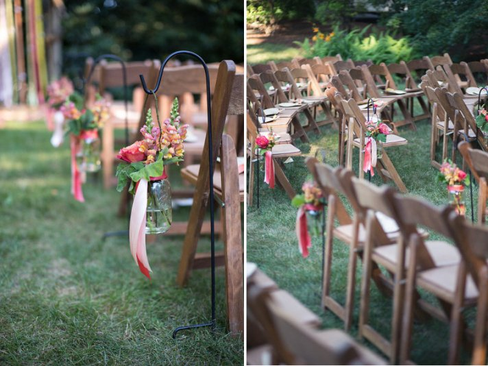Outdoor Wedding Ceremony with Mason Jar Aisle Decor