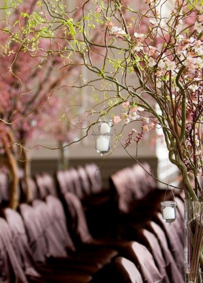 Cherry Blossom Branches Lining Wedding Ceremony Aisle