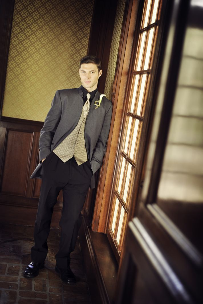 Vintage Inspired Grooms Attire Gold and Charcoal
