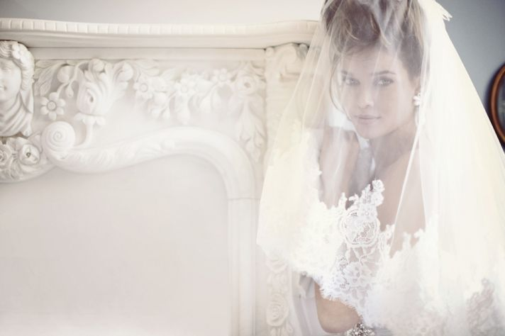 Romantic Bridal Veil and Gown by Berta Fashion