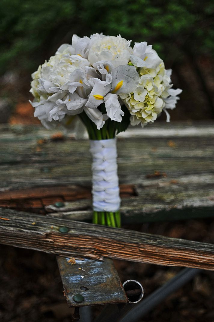 Classic White Bridal Bouquet with Iris and Hydrangea