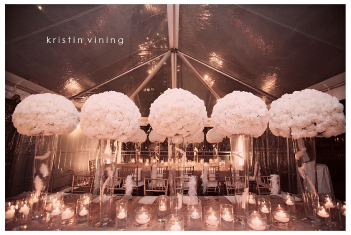 Delightful White Carnation Wedding Centerpieces