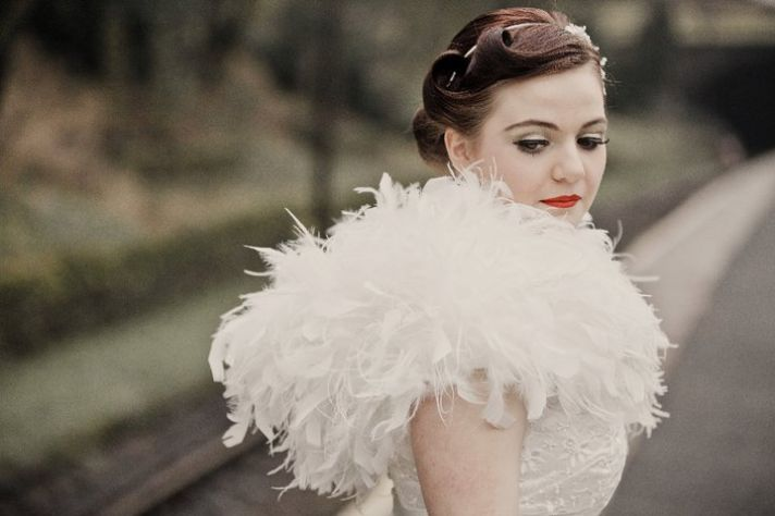 1950s wedding hairstyle and bridal makeup