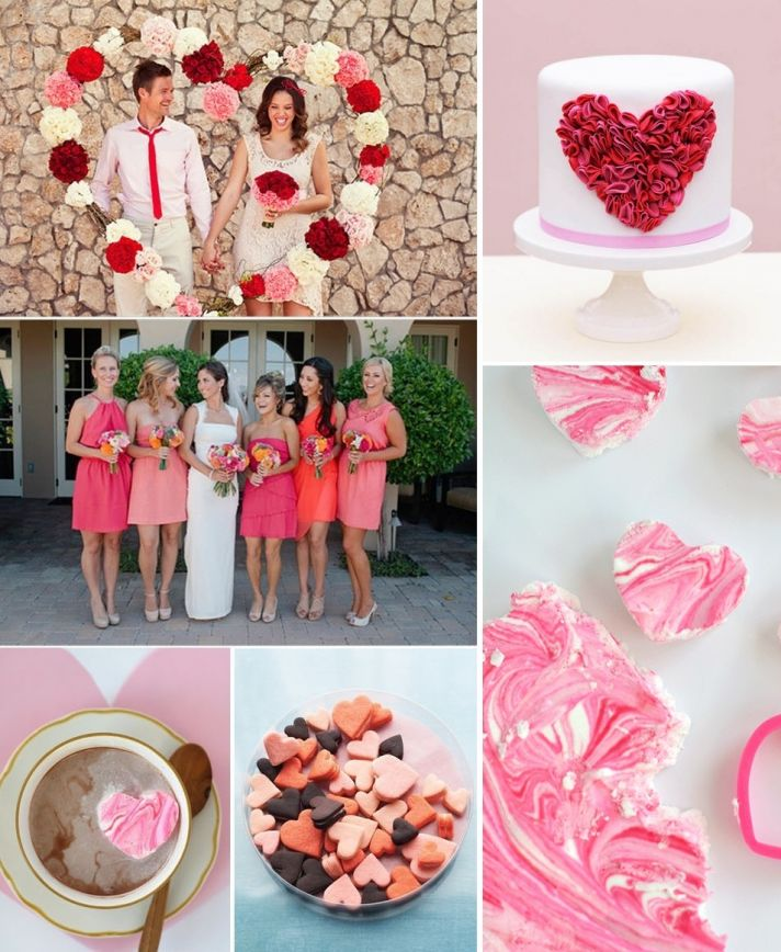 valentines day wedding ideas reception cake and mix and match bridesmaids 2