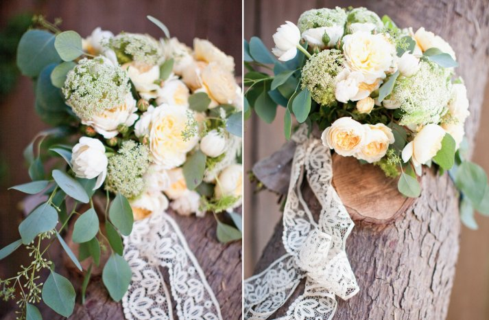 Romantic Ivory Wedding Bouquet with Lace Ribbon Tie