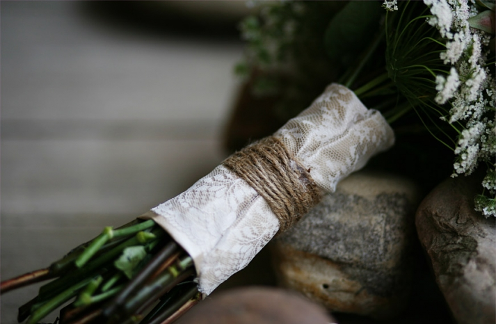 Rustic lace and twine wrapped wedding bouquet