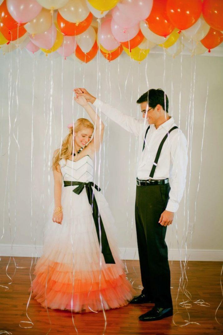 White into Ombre Pink Unique Wedding Dress
