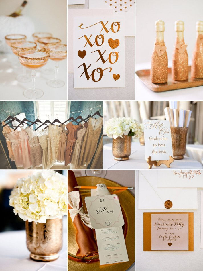 Wedding Color Inspiration Sparkly Copper Amp Gold