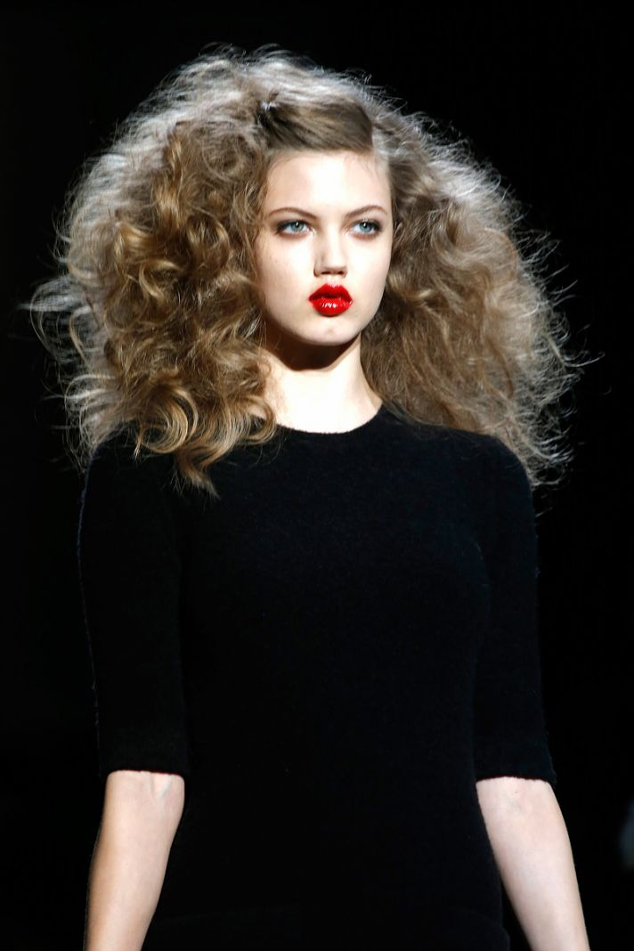 Wedding Hair Inspiration from Fashion Week Red Glossy Lips Big Hair
